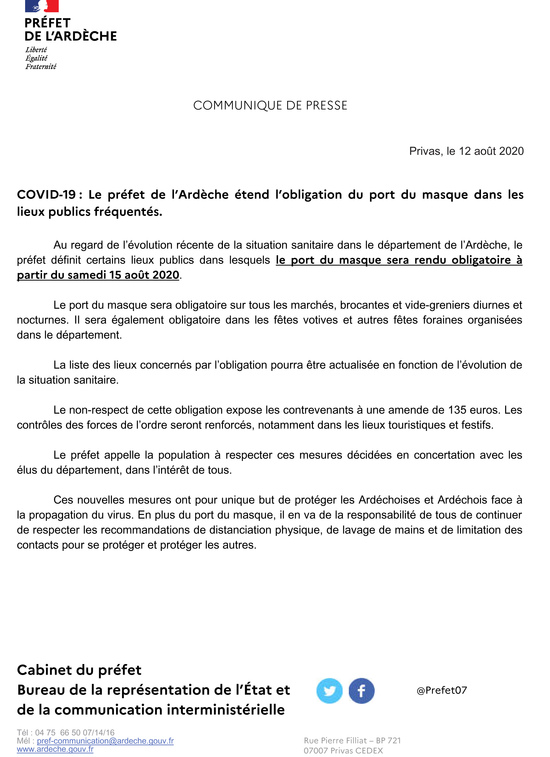 COVID-19: Obligation du port du masque dans certains lieux publics fréquentés à partir du samedi 15 août 2020 (pour les personnes de 11 ans et +)
