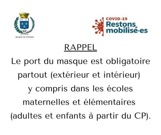 RAPPEL / PORT DU MASQUE OBLIGATOIRE PARTOUT